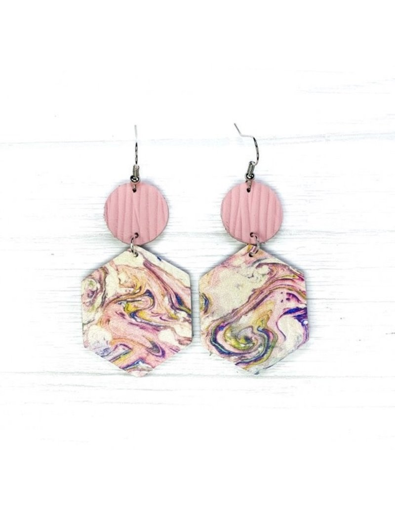 Savvy Bling Marble Pink Leather earrings