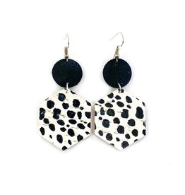 Savvy Bling Dalmation Spot Leather earrings