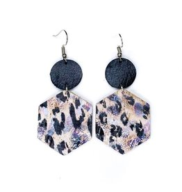 Savvy Bling Festive Leopard Leather earrings
