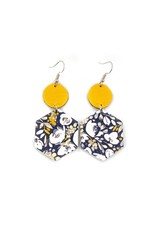 Savvy Bling Navy & Mustard Flower Dangle Leather earrings