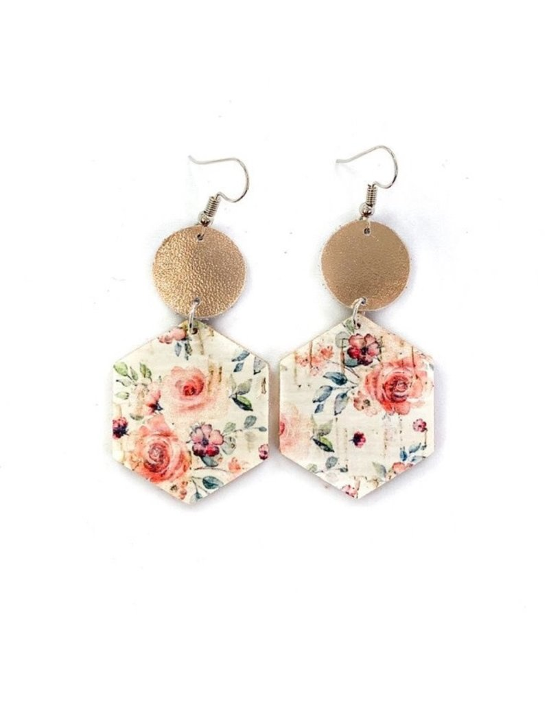 Savvy Bling Mauve Floral & Rose Gold Leather earrings