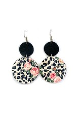 Savvy Bling Black & White Leopard Dangle Leather earrings