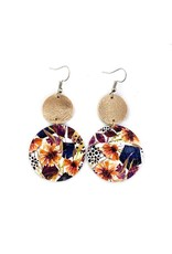 Savvy Bling Fall Orange, Navy & Burgundy Flower Dangle Leather earrings