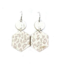 Savvy Bling Nude Leopard Dangle Leather earrings
