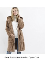 42POPS Faux Fur Hooded Open Coat