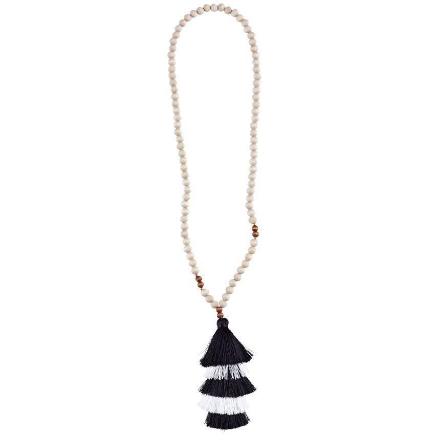 Mud Pie Tiered Tassel Necklace Black