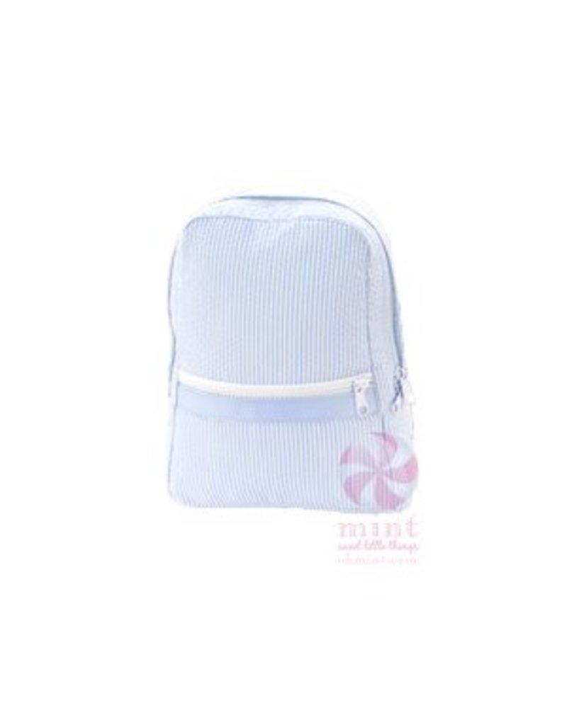 Mint Baby Blue Seersucker Backpack