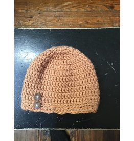 Buttons & Bows Crochet hat-tan buttons-0-6m