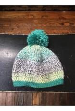 Buttons & Bows Crochet hat-green multi pom pom-6-12m