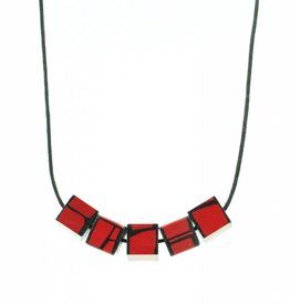 Hue+Wood Jewelry Red Wood Cube Necklace