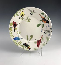 Avian Clay Large Plate with Songbirds