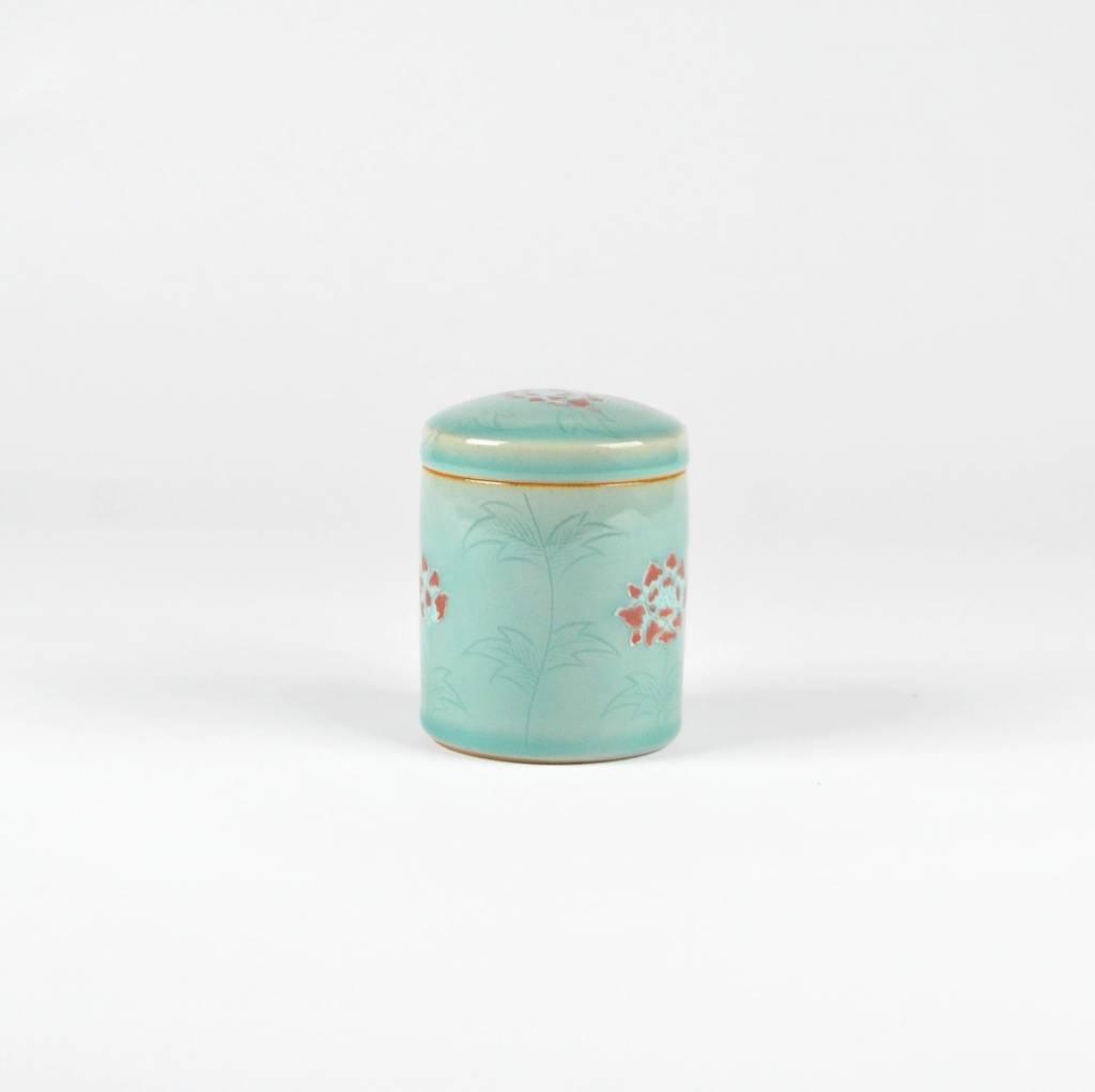Icheon Ceramics Celadon Box, Red Flowers