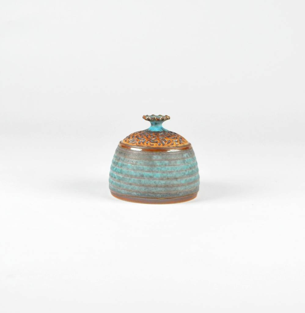 Emily Lee Turquoise Jar with Carving Lid