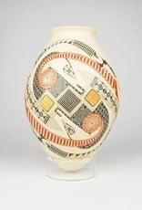 Miguel Quezada Mata Ortiz, White Pot, Wood, Silver