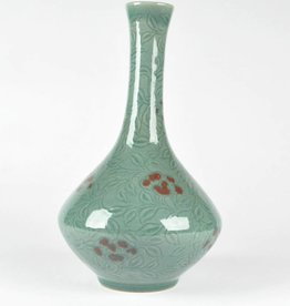 Choi In-Gyu Celadon Bottle, Embossed Peony