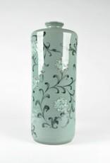 Choi In-Gyu Celadon Cylindrical Bottle, Peony