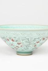 Kim Soeng-Tae Celadon Tea Bowl, Peony Design