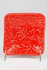 Lynn Wood Medium Red Square Ash Tray