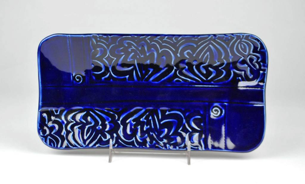 Lynn Wood Large Blue Rectangular Tray