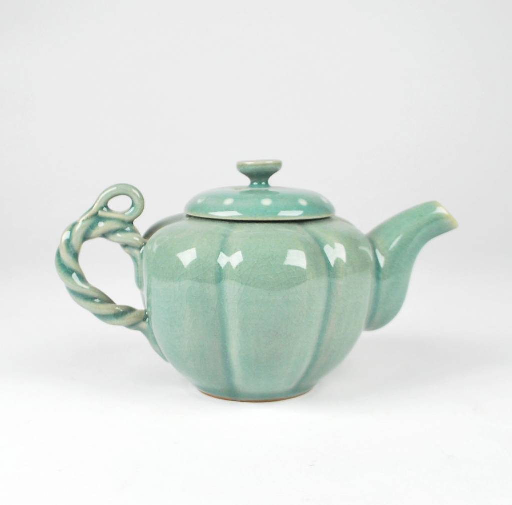 Choi In-Gyu Celadon Teapot, Coiled Handle