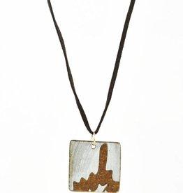 Heather C. Morrow Black Mountain Leaf Square Pendant
