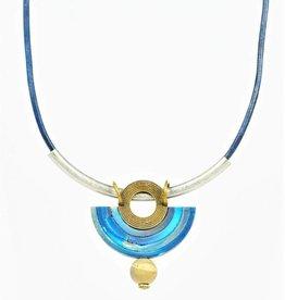 Eva Andre Design Blue Arch Semcircle Gemstrone Necklace