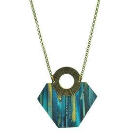 Eva Andre Design Blue Pentagon Long Chain Necklace