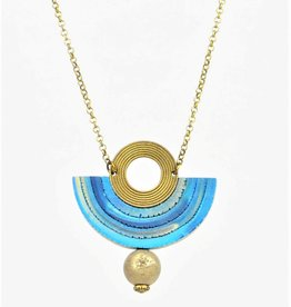 Eva Andre Design Blue Semicircle Gemstone Long Chain Necklace