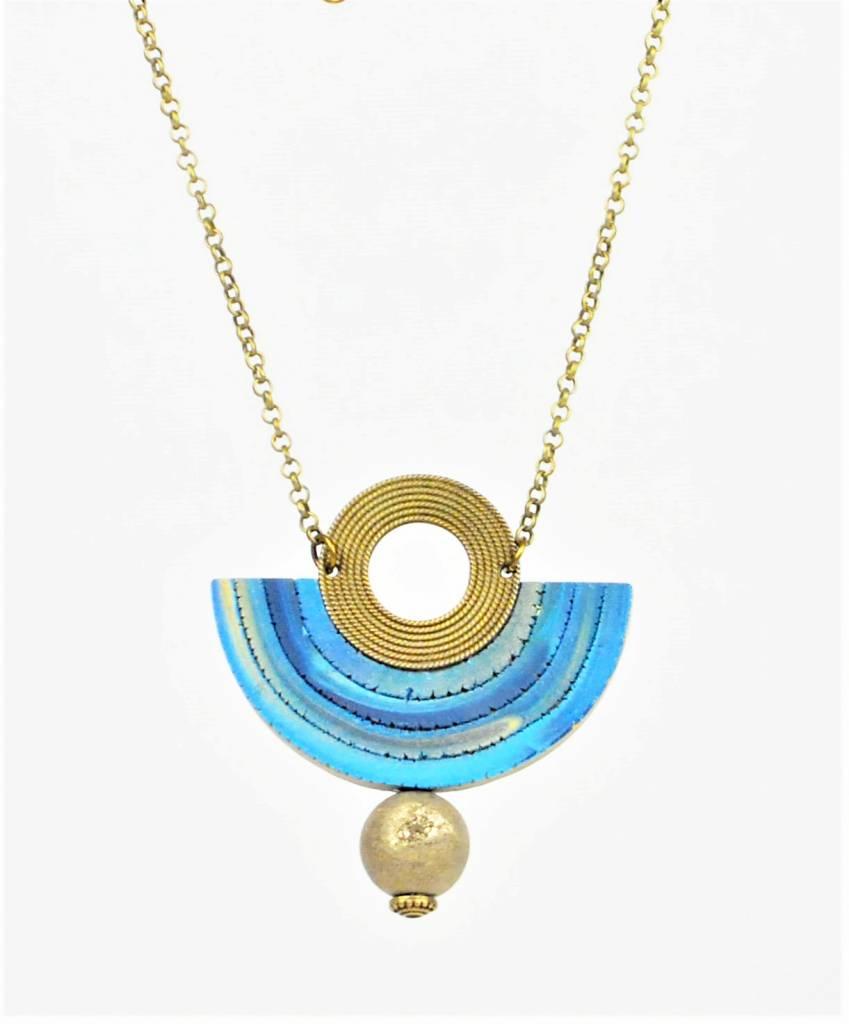 Eva Andre Design Blue Semicircle Gemstone Long Chain Necklace
