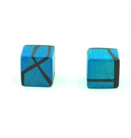 Hue+Wood Jewelry Dark Blue Wood Stud Earrings