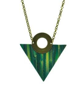 Eva Andre Design Emerald Green Triangle Long Chain Necklace