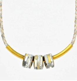 Eva Andre Design Gray 3 Bead Necklace