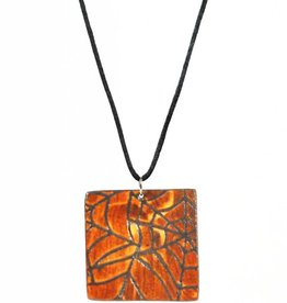 Heather C. Morrow Orange Shino Spider Web Pendant