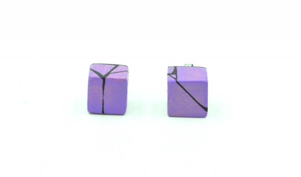 Hue+Wood Jewelry Purple Wood Stud Earrings