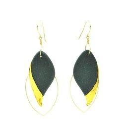 Cassie Stonewares Black Leaf Earrings