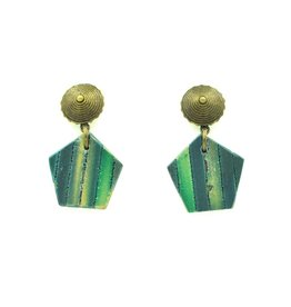 Eva Andre Design Emerald Green Pentagon Earrings