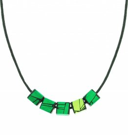 Hue+Wood Jewelry Green Accent Square Necklace