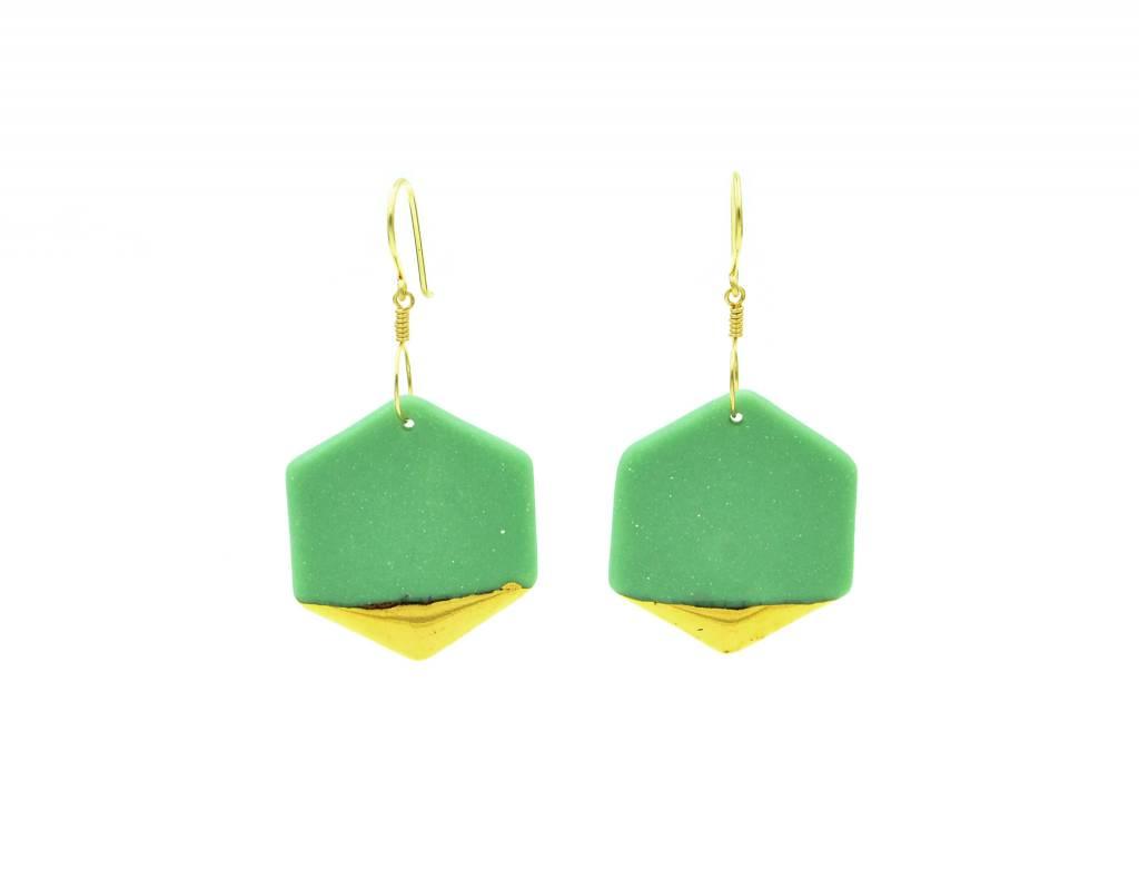 Cassie Stonewares Green Hexagon Earrings