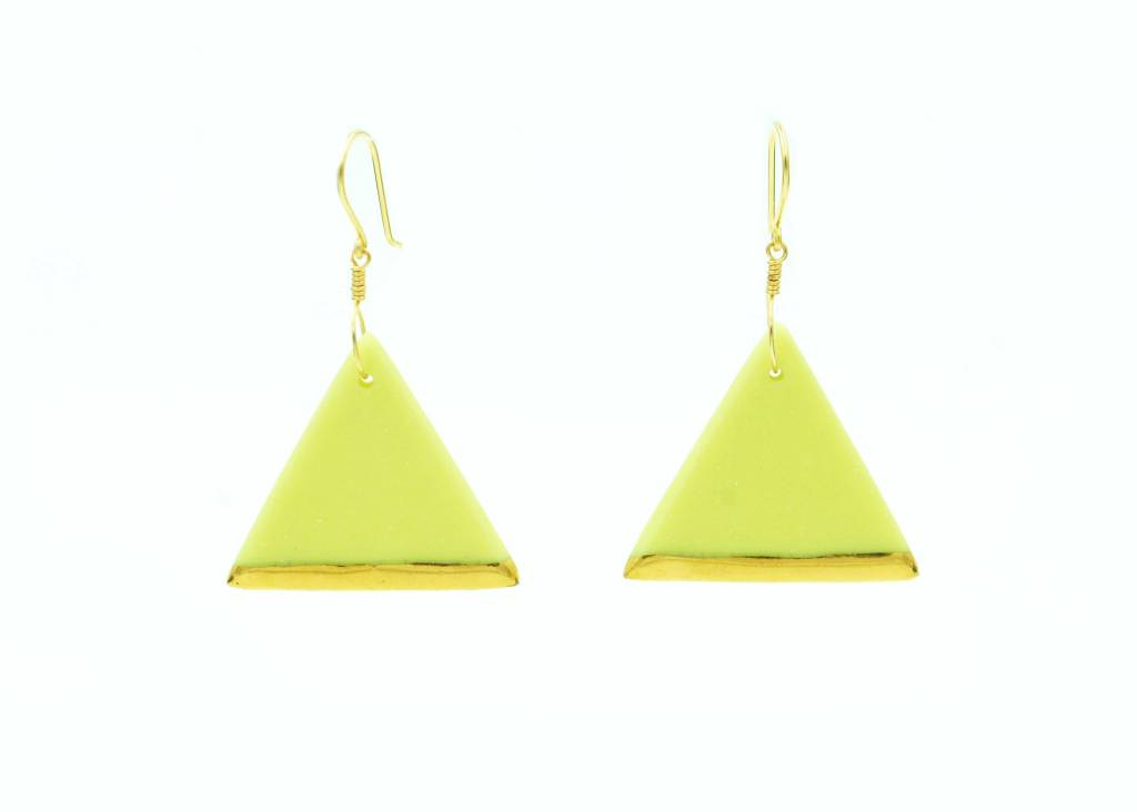 Cassie Stonewares Lime Triangle Earrings