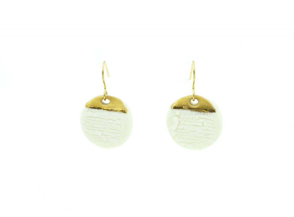 Alyson Iwamoto White & Gold Earrings