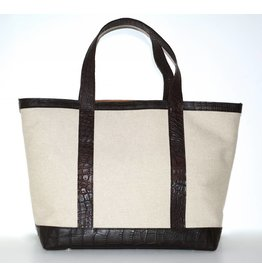 ALLIGATOR & LINEN TOTE MEDIUM NATURAL/TMORO