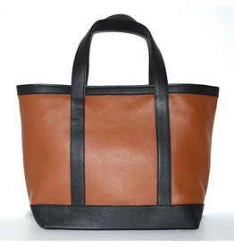 LEATHER TOTE MEDIUM CUOIO 36/BLACK 00