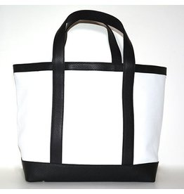 LEATHER TOTE MEDIUM WHITE 01/BLACK 00