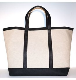 LINEN & LEATHER TOTE LARGE NATURAL/BLACK 00