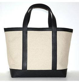LINEN & LEATHER TOTE MEDIUM NATURAL/BLACK 00