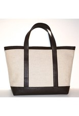 LINEN & LEATHER TOTE MEDIUM NATURAL/TMORO 03