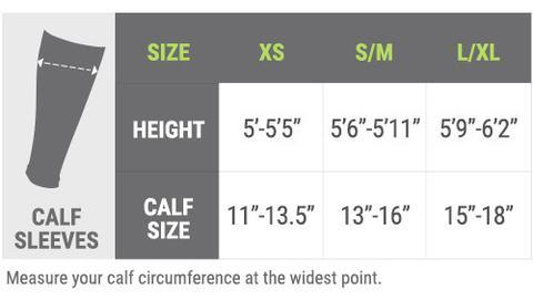 Pro Compression Calf Sleeve Size Chart