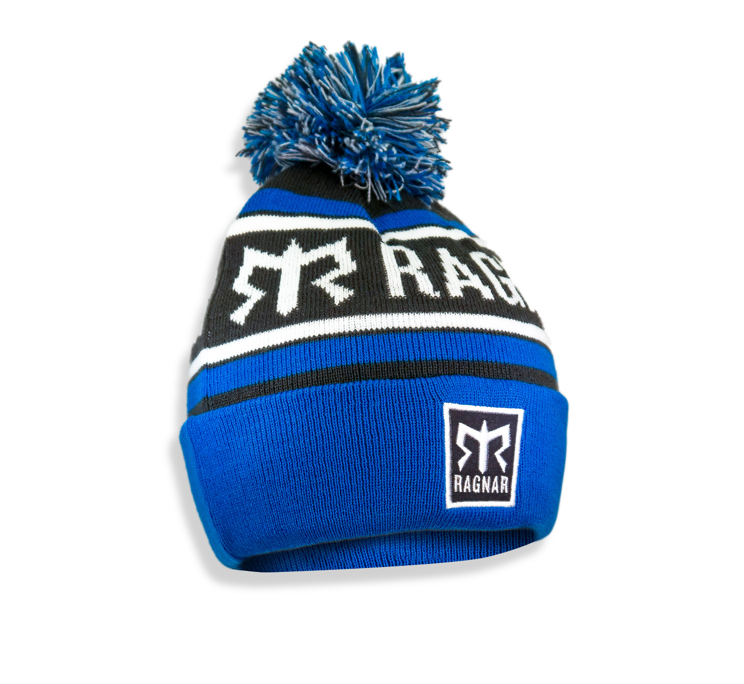 Ragnar Pom Pom Knit Beanie - Blue/Grey/White