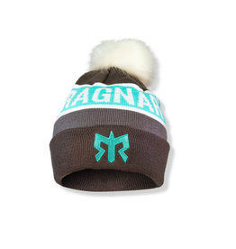 Ragnar Pom Pom Knit Beanie - Grey/Teal/White