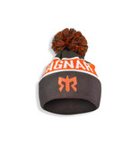 Ragnar Pom Pom Knit Beanie - Orange/Grey/White